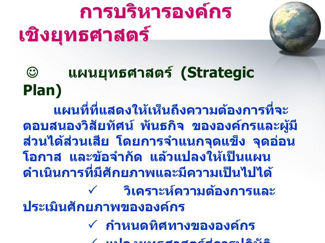 การบริหารองค์กรเชิงยุทธศาสตร์