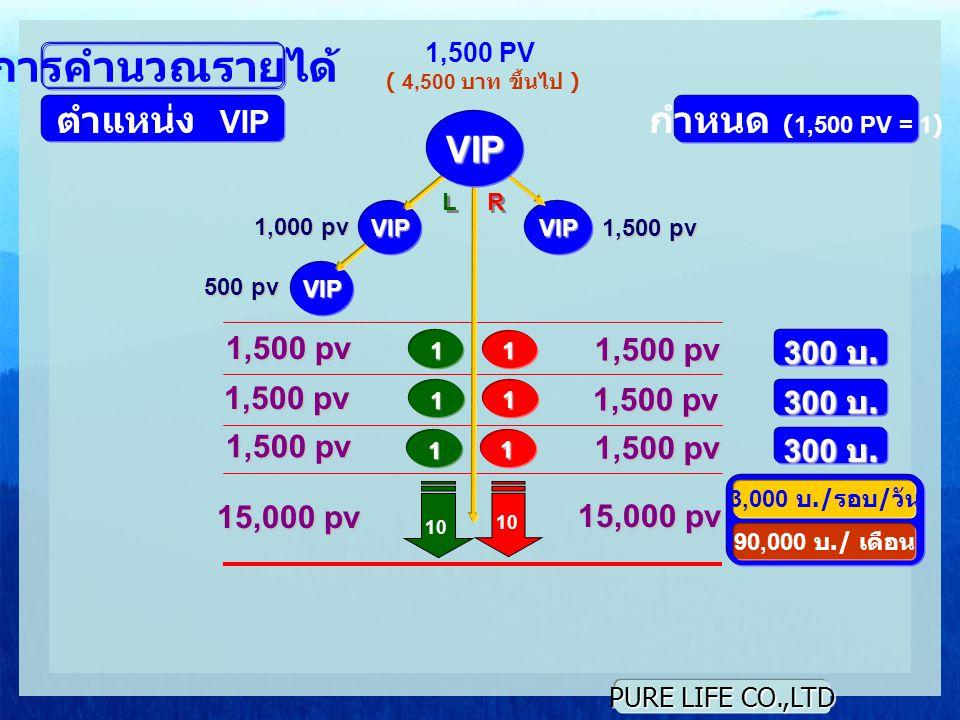 การคำนวณรายได้ ตำแหน่ง VIP กำหนด (1,500 PV = 1) VIP 1,500 pv 1,500 pv