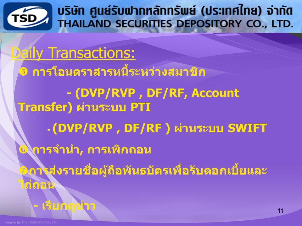 Daily Transactions:  การโอนตราสารหนี้ระหว่างสมาชิก