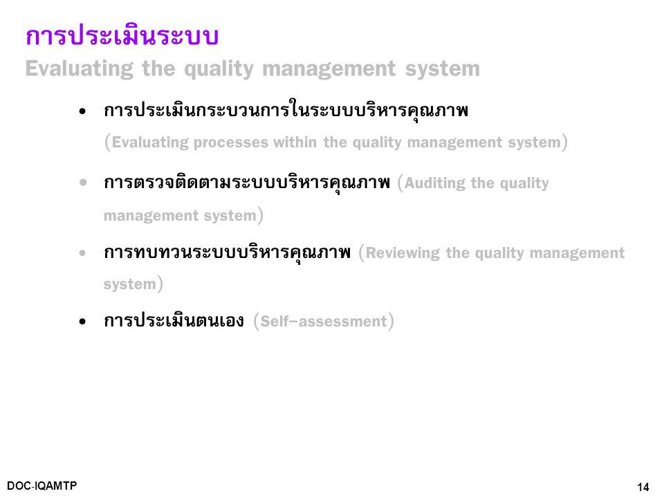 การประเมินระบบ Evaluating the quality management system