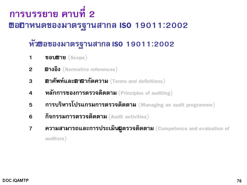 การบรรยาย คาบที่ 2 ข้อกำหนดของมาตรฐานสากล ISO 19011:2002