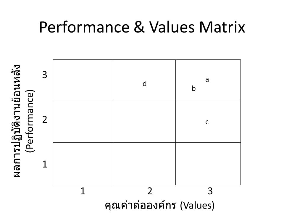 Performance & Values Matrix