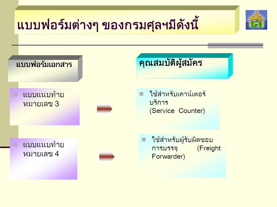 แบบฟอร์มต่างๆ ของกรมศุลฯมีดังนี้