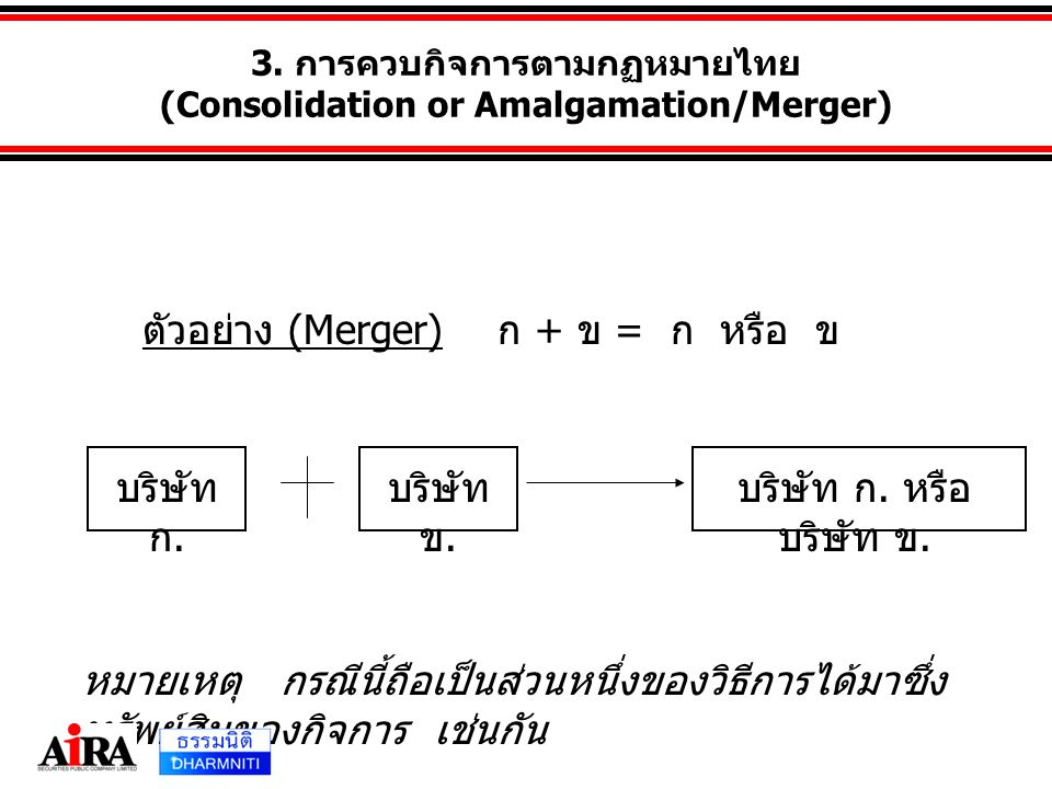 3. การควบกิจการตามกฏหมายไทย (Consolidation or Amalgamation/Merger)