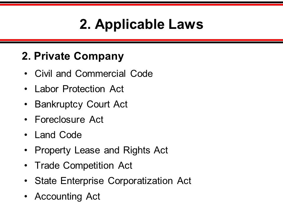 2. Applicable Laws 2. Private Company Civil and Commercial Code