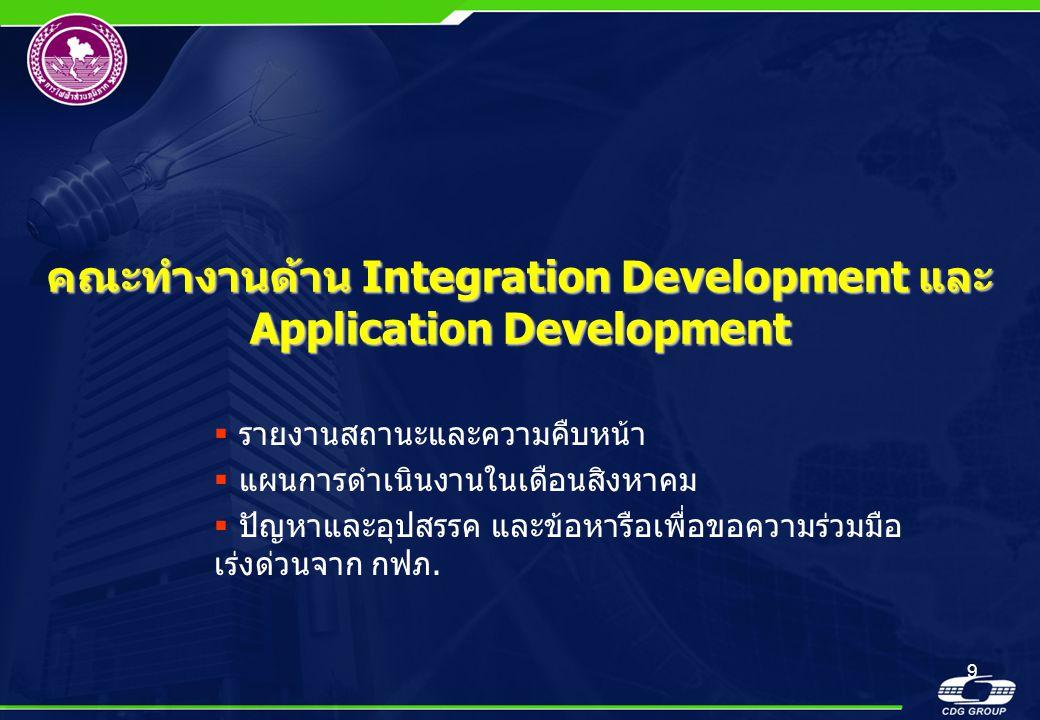 คณะทำงานด้าน Integration Development และ Application Development