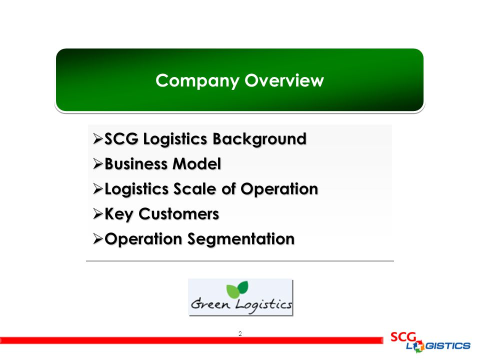 Company Overview SCG Logistics Background Business Model