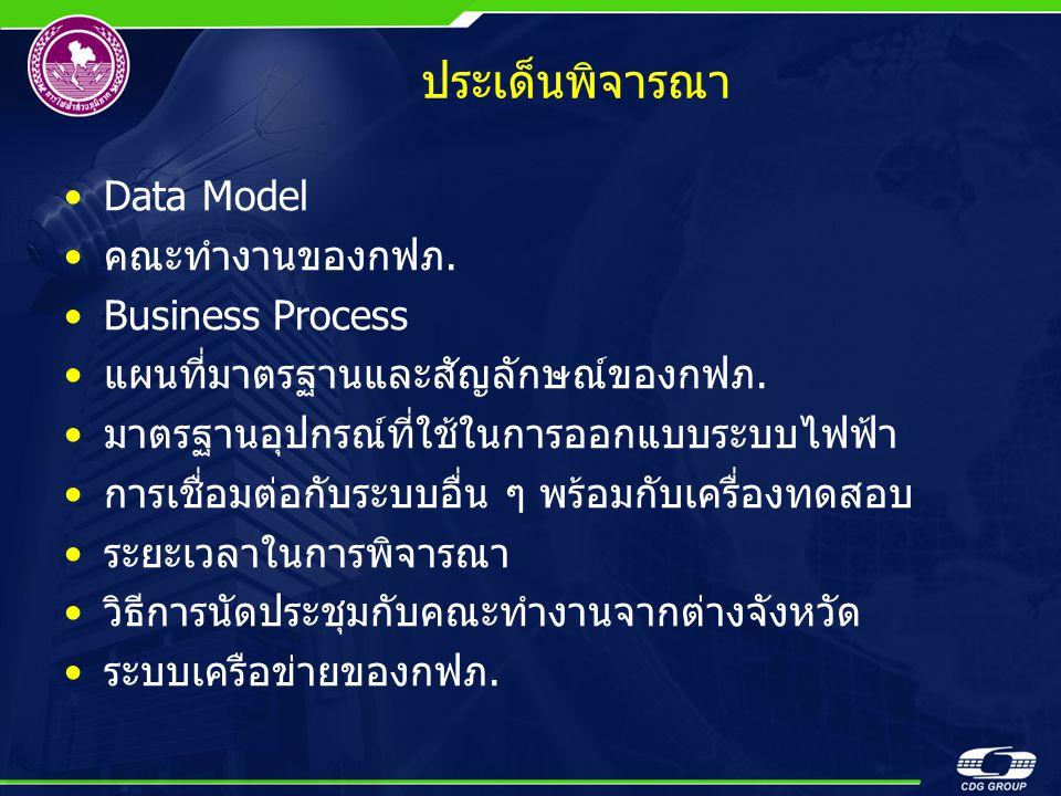 ประเด็นพิจารณา Data Model คณะทำงานของกฟภ. Business Process