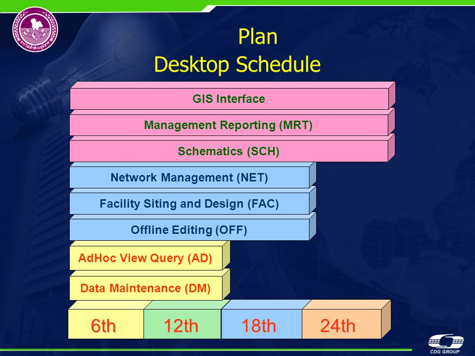 Plan Desktop Schedule 6th 12th 18th 24th GIS Interface