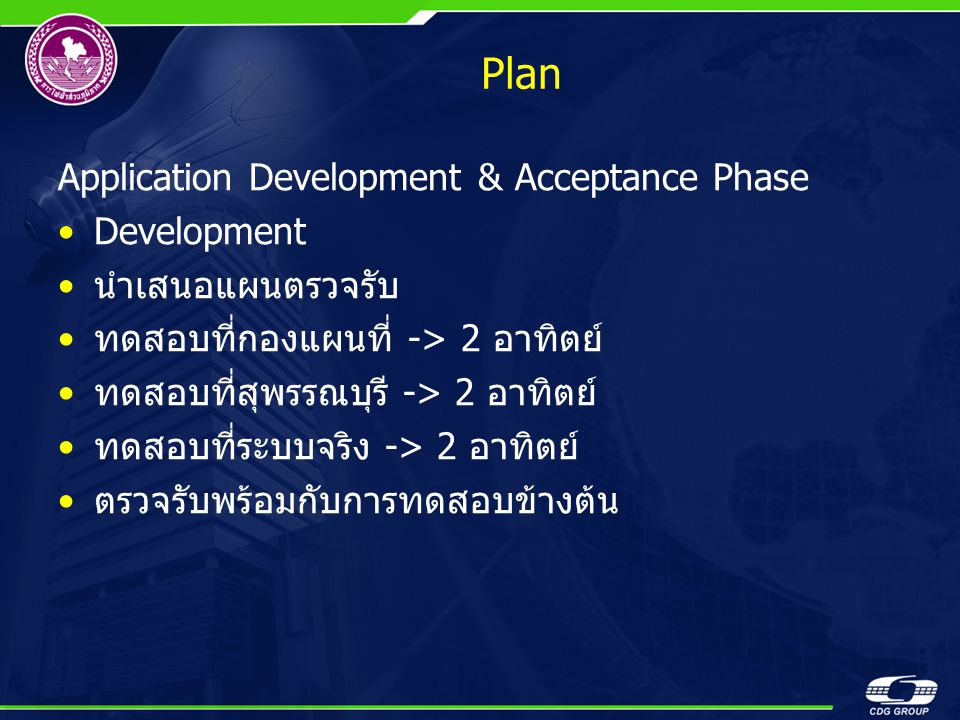 Plan Application Development & Acceptance Phase Development