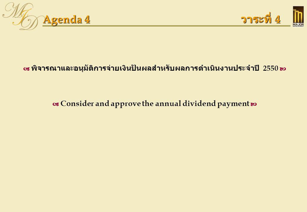 Agenda 4 (Cont') วาระที่ 4 (ต่อ)