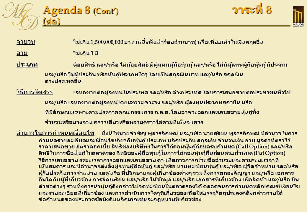 Agenda 8 (Result) วาระที่ 8 (ผลคะแนน)