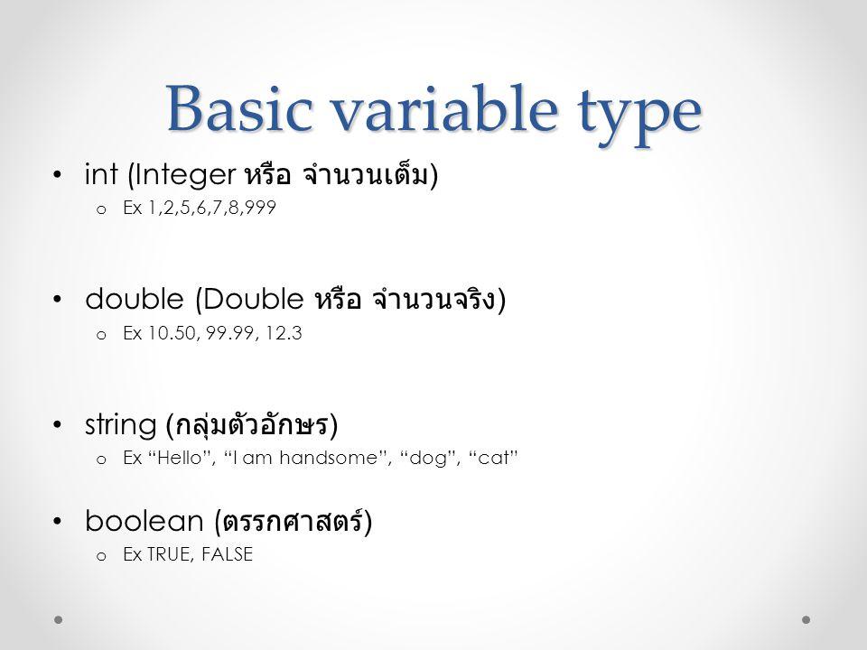 Basic variable type int (Integer หรือ จำนวนเต็ม)