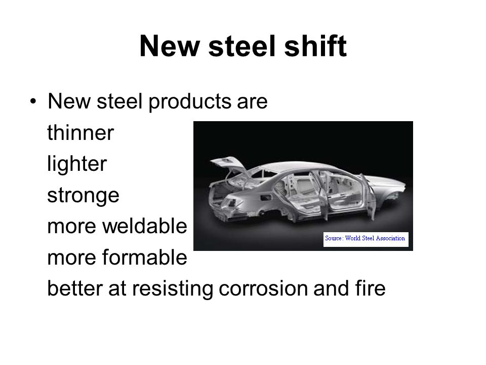 New steel shift New steel products are thinner lighter stronge
