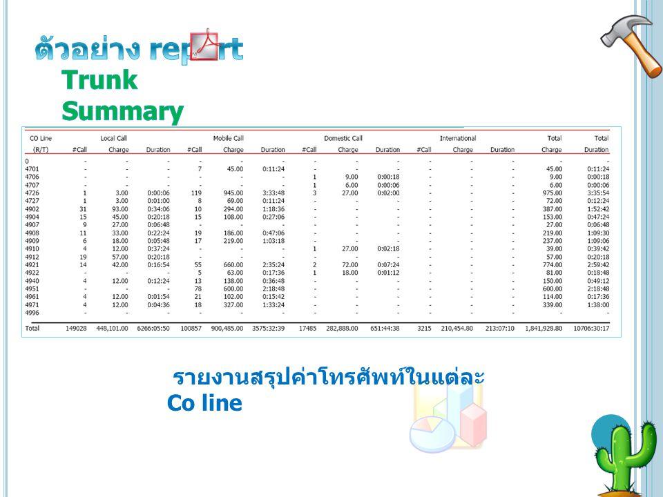 ตัวอย่าง report Trunk Summary รายงานสรุปค่าโทรศัพท์ในแต่ละ Co line