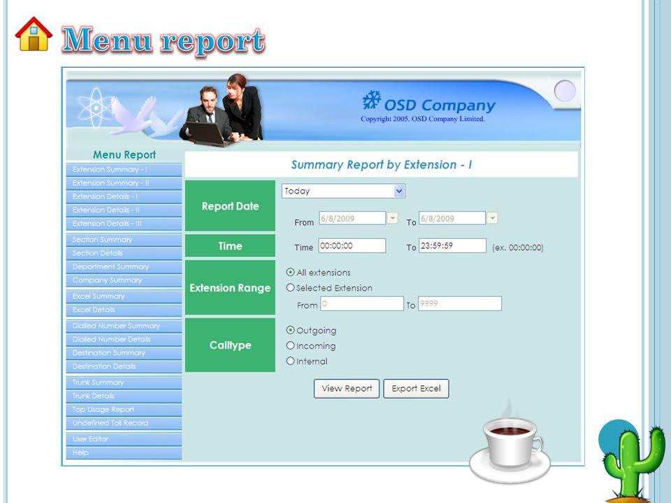 Menu report