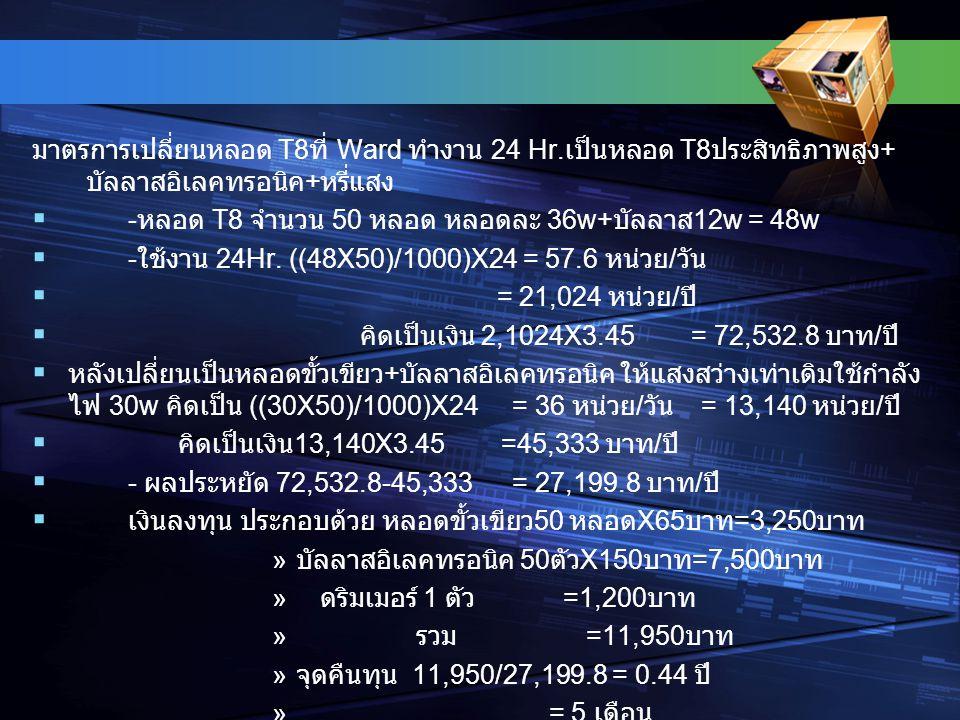 มาตรการเปลี่ยนหลอด T8ที่ Ward ทำงาน 24 Hr