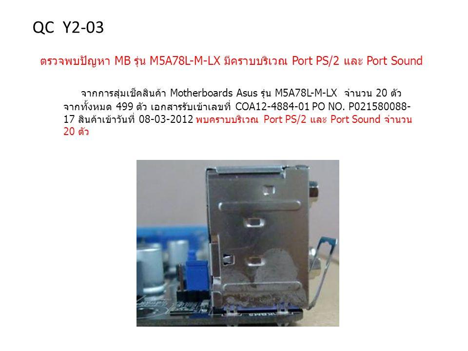 QC Y2-03 ตรวจพบปัญหา MB รุ่น M5A78L-M-LX มีคราบบริเวณ Port PS/2 และ Port Sound.