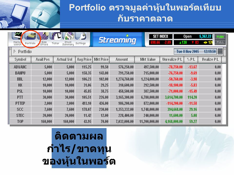 Portfolio ตรวจมูลค่าหุ้นในพอร์ตเทียบกับราคาตลาด