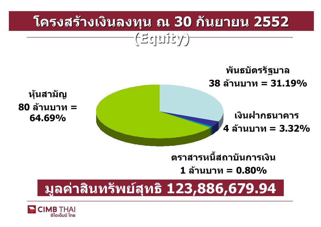 โครงสร้างเงินลงทุน ณ 30 กันยายน 2552 (Equity)