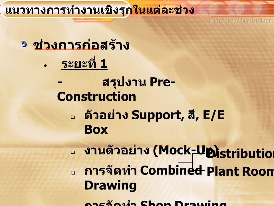 ช่วงการก่อสร้าง ระยะที่ 1 - สรุปงาน Pre-Construction