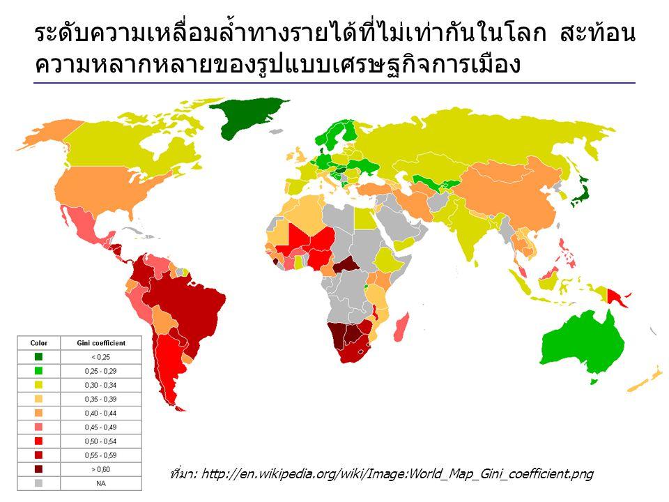 ระดับความเหลื่อมล้ำทางรายได้ที่ไม่เท่ากันในโลก สะท้อนความหลากหลายของรูปแบบเศรษฐกิจการเมือง