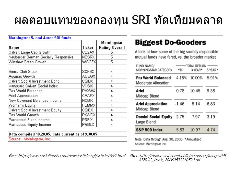ผลตอบแทนของกองทุน SRI ทัดเทียมตลาด
