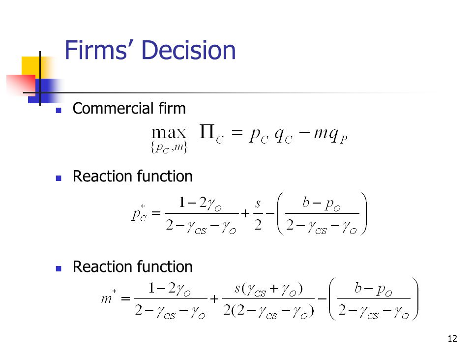 Firms' Decision Commercial firm Reaction function