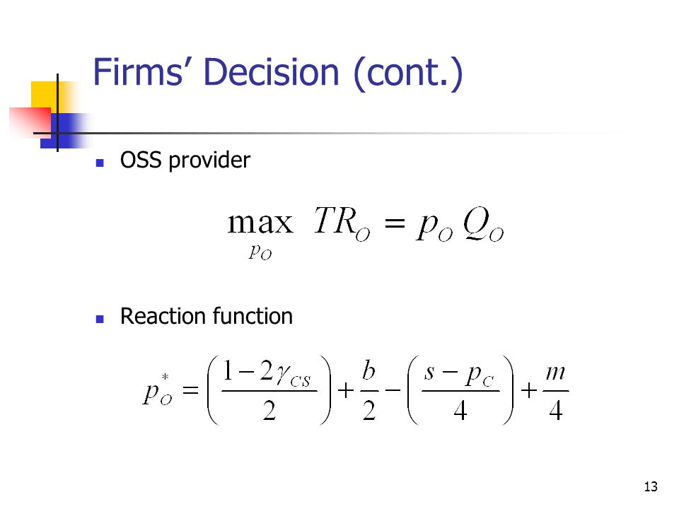 Firms' Decision (cont.)