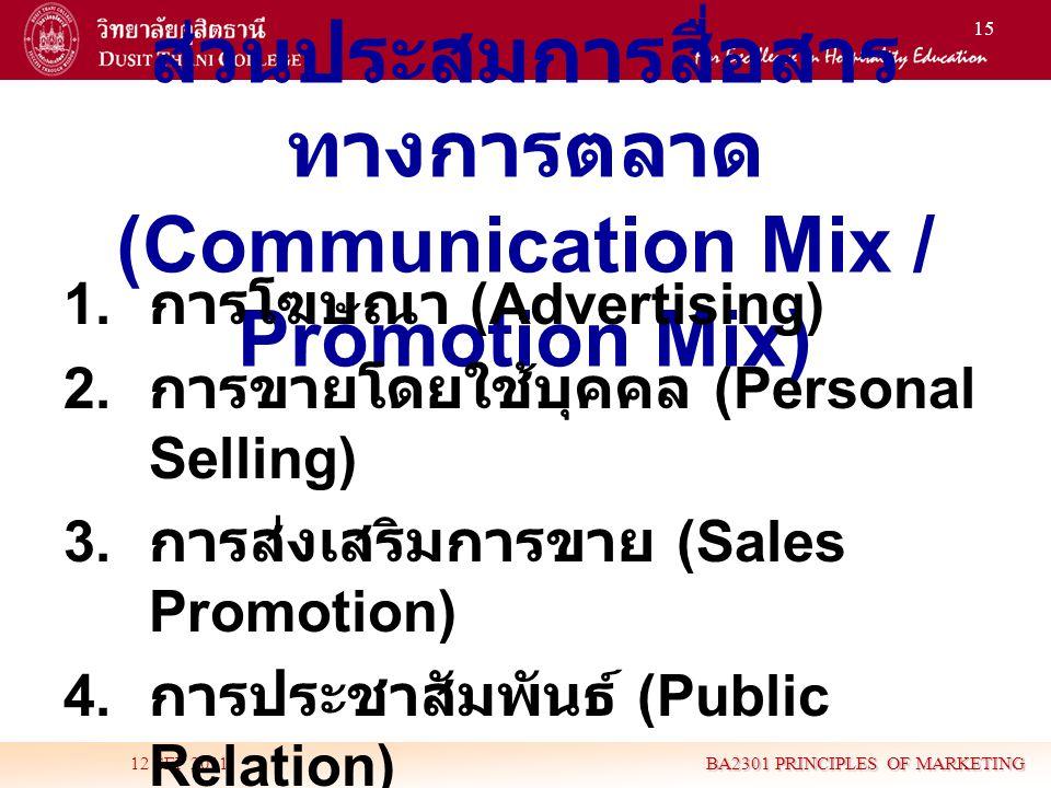 ส่วนประสมการสื่อสารทางการตลาด (Communication Mix / Promotion Mix)