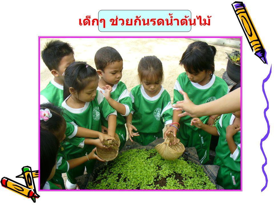 เด็กๆ ช่วยกันรดน้ำต้นไม้