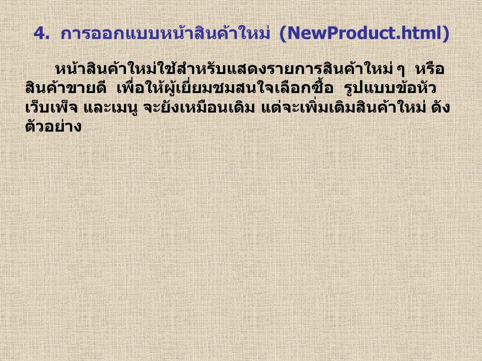 4. การออกแบบหน้าสินค้าใหม่ (NewProduct.html)