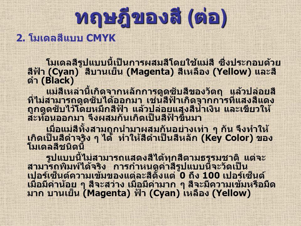 ทฤษฎีของสี (ต่อ) 2. โมเดลสีแบบ CMYK