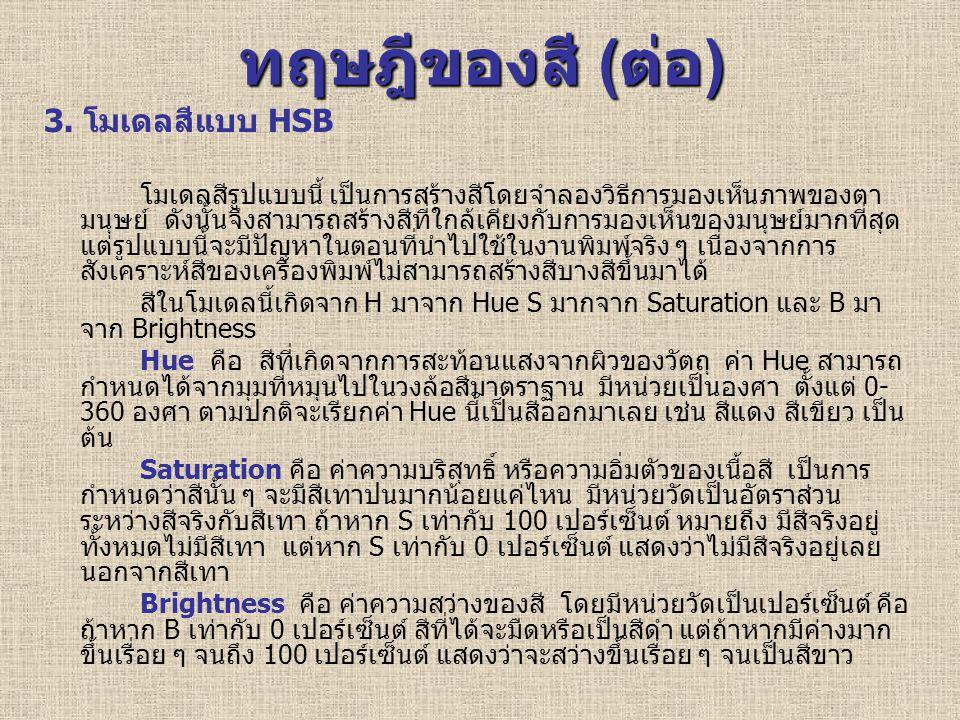 ทฤษฎีของสี (ต่อ) 3. โมเดลสีแบบ HSB