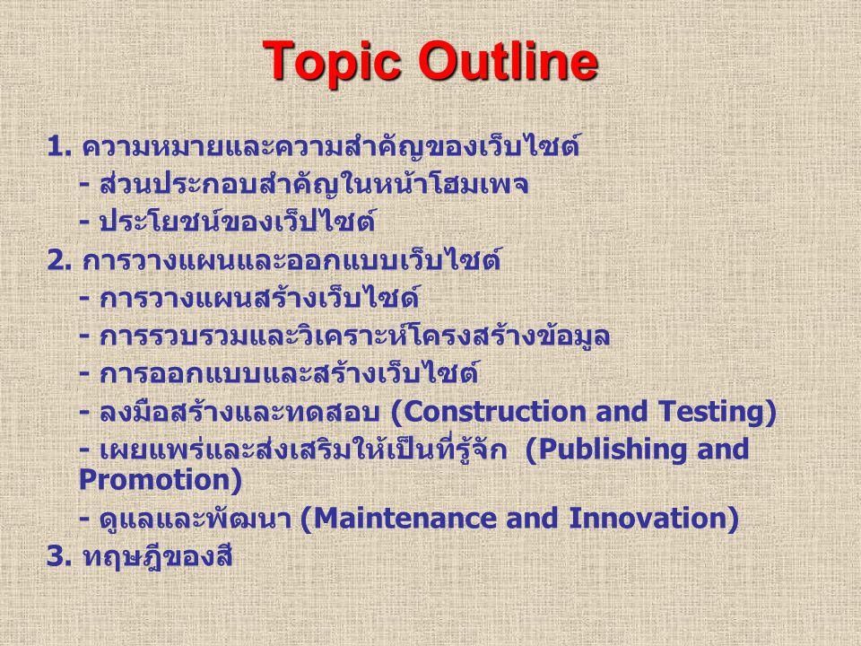 Topic Outline 1. ความหมายและความสำคัญของเว็บไซต์