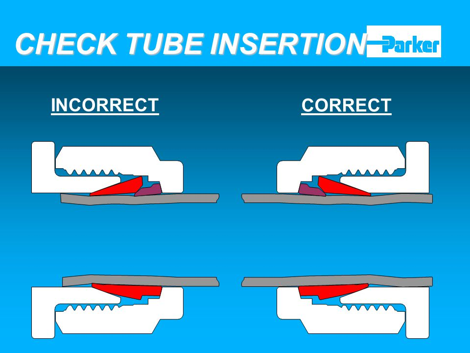 CHECK TUBE INSERTION INCORRECT CORRECT