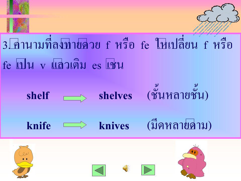 3. คำนามที่ลงท้ายด้วย f หรือ fe ให้เปลี่ยน f หรือ fe เป็น v แล้วเติม es เช่น