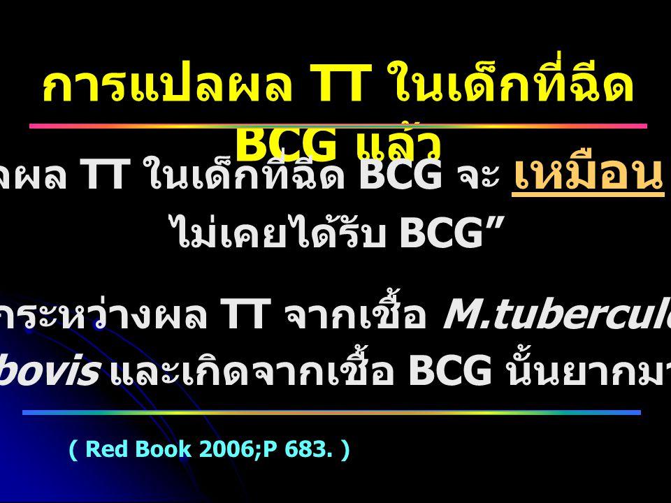 การแปลผล TT ในเด็กที่ฉีด BCG แล้ว
