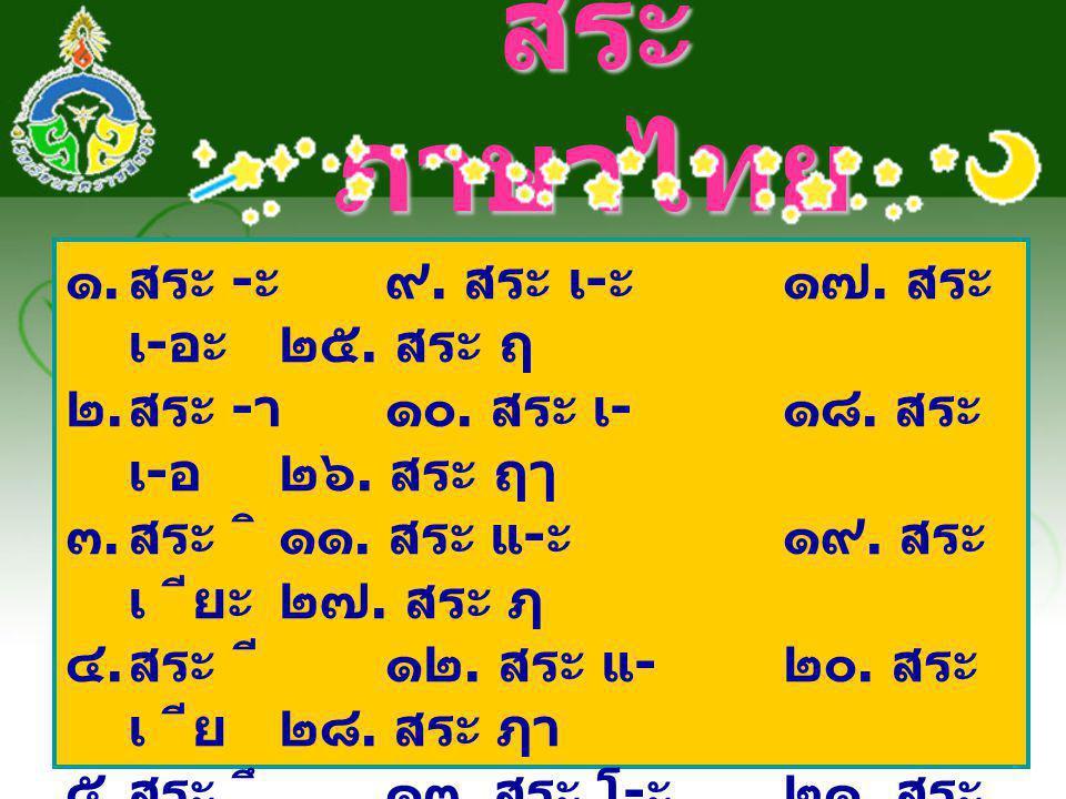 สระภาษาไทย สระ -ะ ๙. สระ เ-ะ ๑๗. สระ เ-อะ ๒๕. สระ ฤ
