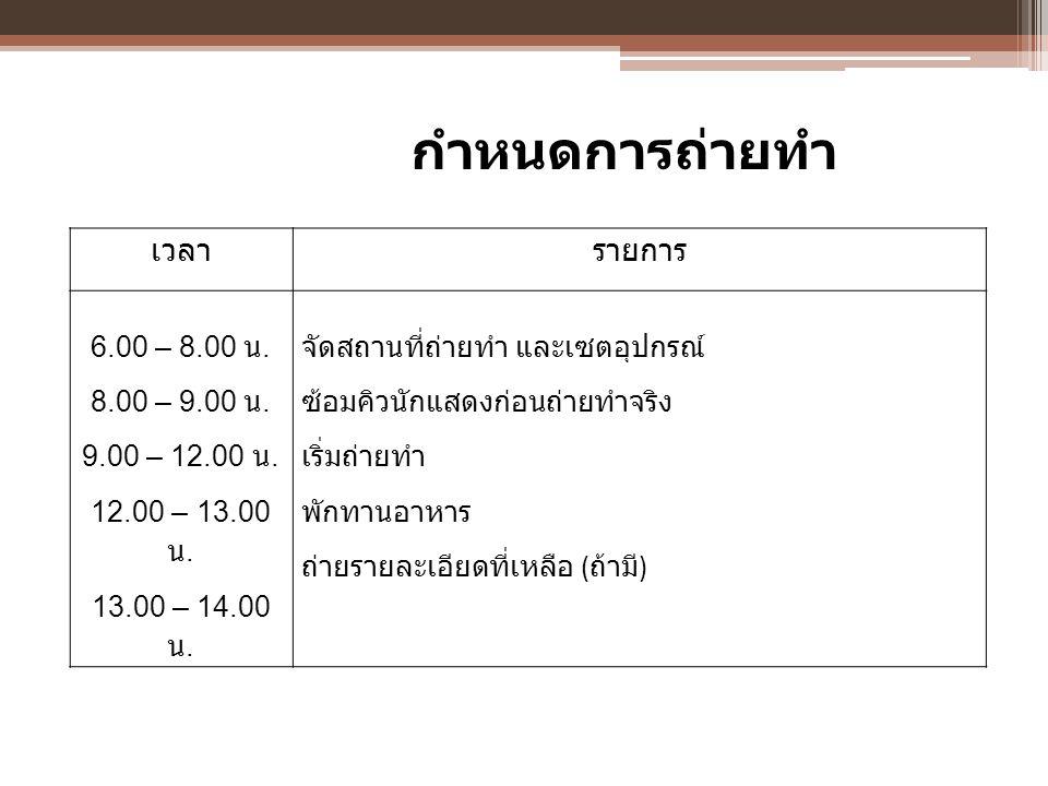 กำหนดการถ่ายทำ เวลา รายการ 6.00 – 8.00 น. 8.00 – 9.00 น.