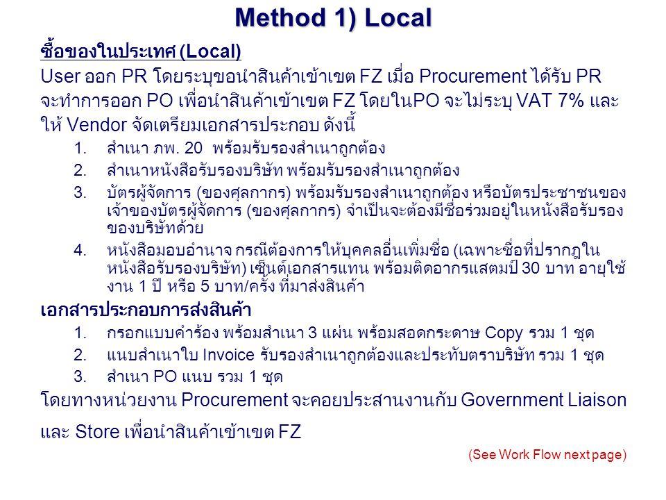 Method 1) Local ซื้อของในประเทศ (Local)