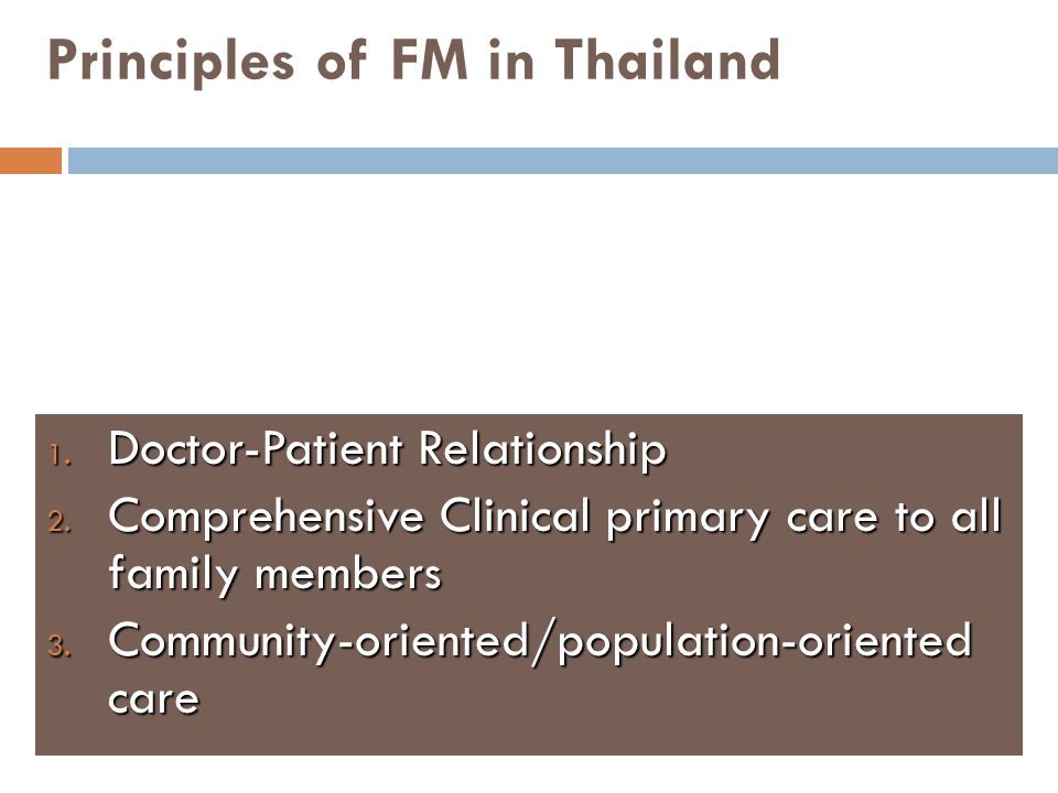 Principles of FM in Thailand