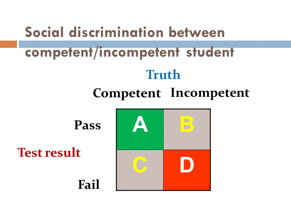 Social discrimination between competent/incompetent student