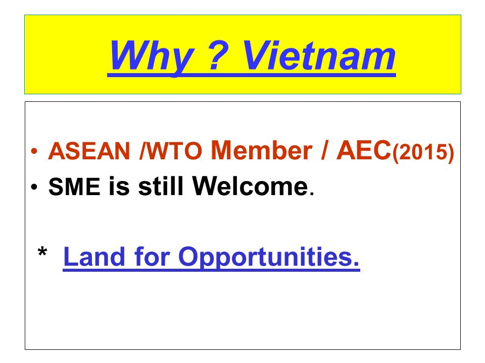 Why Vietnam * Land for Opportunities. ASEAN /WTO Member / AEC(2015)