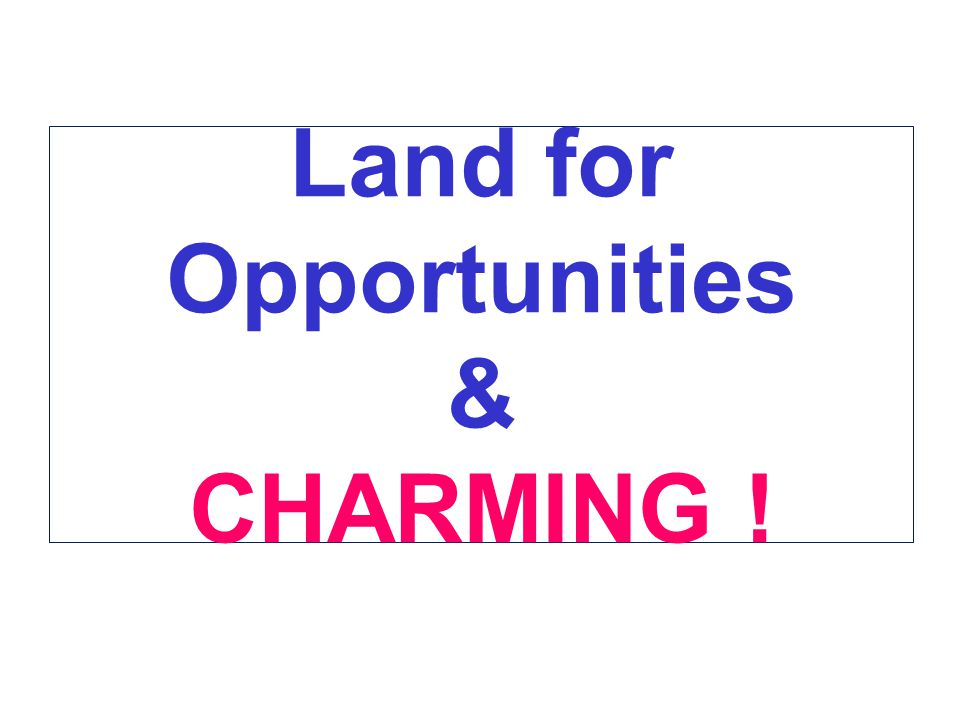 Land for Opportunities & CHARMING !