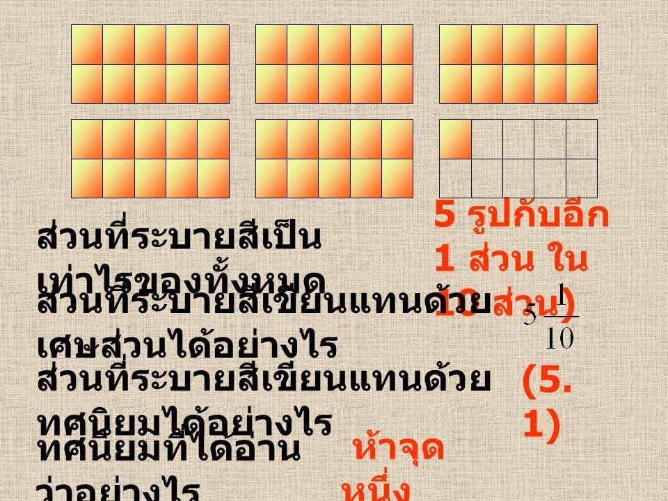 5 รูปกับอีก 1 ส่วน ใน 10 ส่วน)