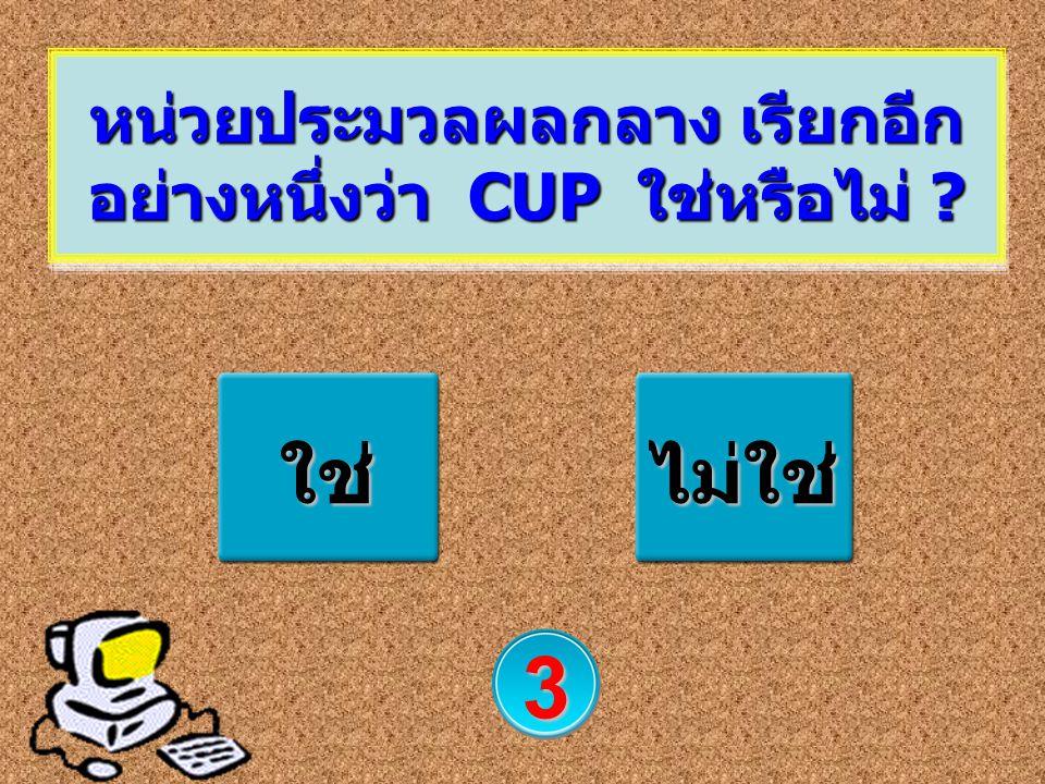 หน่วยประมวลผลกลาง เรียกอีกอย่างหนึ่งว่า CUP ใช่หรือไม่