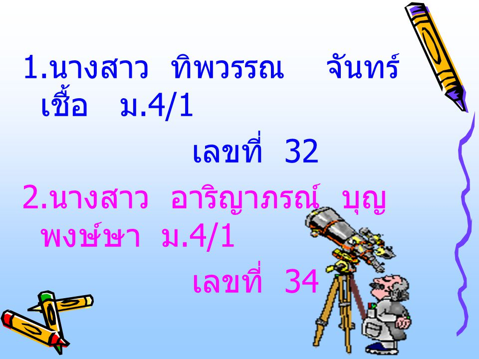 1.นางสาว ทิพวรรณ จันทร์เชื้อ ม.4/1