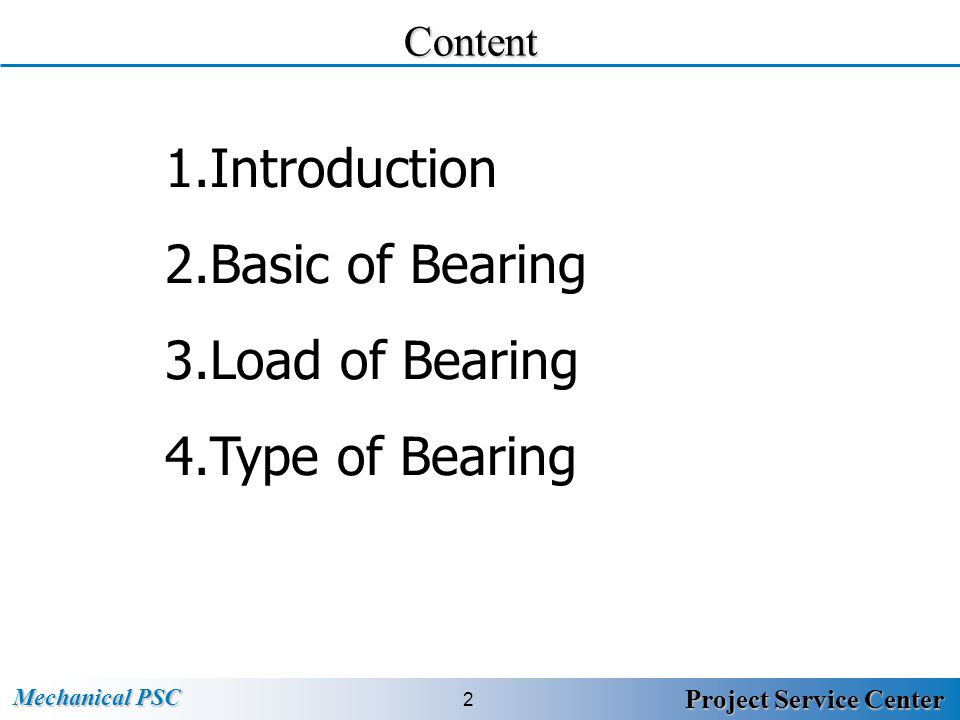 Content Introduction Basic of Bearing Load of Bearing Type of Bearing