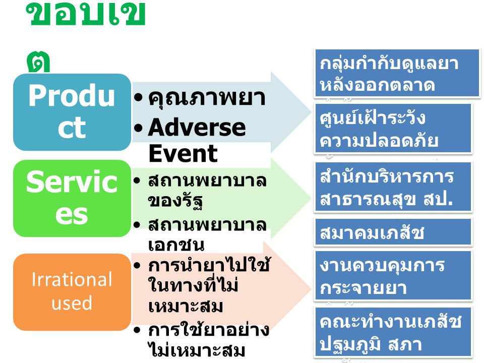 ขอบเขต Product Services คุณภาพยา Adverse Event Irrational used